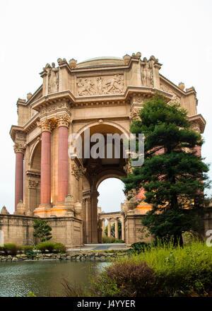 Palace of Fine Arts in San Francisco California - Stock Photo