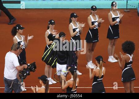 Madrid, Spain. 14th May, 2017. Spanish tennis player Rafa Nadal during the Mutua Madrid Open men's final match at - Stock Photo