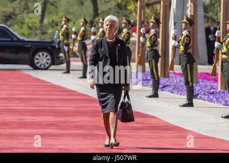 Beijing, China. 15th May, 2017. Christine Lagarde, managing director of the International Monetary Fund (IMF), arrives - Stock Photo