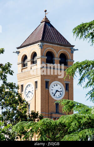 Alabama Tuskegee Macon County Courthouse clock tower exterior trees 19th century Romanesque Revival style Black - Stock Photo