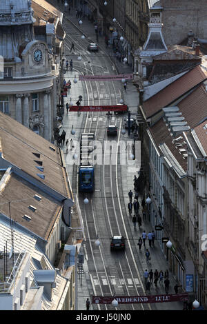 Panoramic view of the Ilica street from skyscraper 'Zagreb Eye viewpoint' in Zagreb, Croatia on May 31, 2015 - Stock Photo