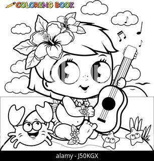 Hawaiian baby girl on an island playing the ukulele. Coloring book page - Stock Photo