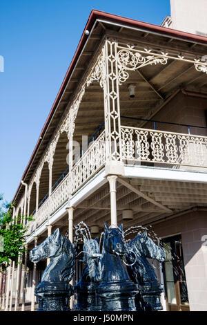 Selma Alabama St. James Hotel established 1837 fountain horse wrought iron railing - Stock Photo