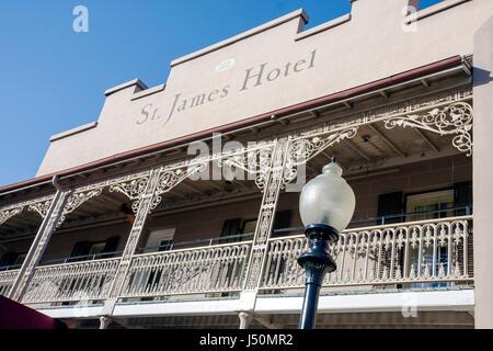 Selma Alabama St. James Hotel established 1837 balcony wrought iron railing lamppost - Stock Photo