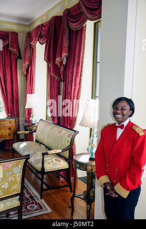 Selma Alabama St. James Hotel established 1837 lobby Black female student waitress uniform - Stock Photo