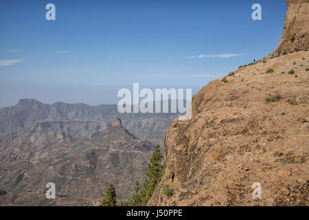View from Roque Nublo on Gran Canarian landscape - Stock Photo
