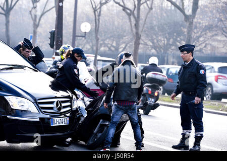 Traffic accident between a car and a motorbike, Paris, France - Stock Photo