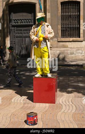 Mime statues on La Rambla in Barcelona Spain ES EU - Stock Photo