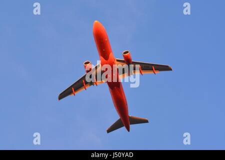G-EZUI Airbus A320-214 in 200th aircraft EasyJet livery in flight over Mediterranean approach Gibraltar International - Stock Photo