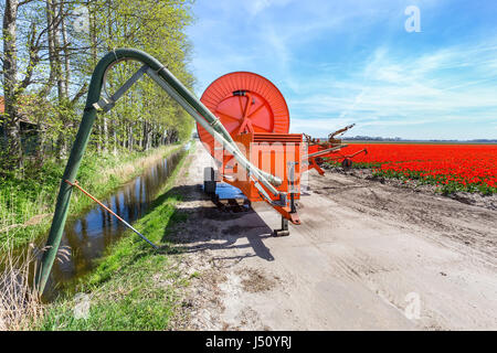 Spraying equipment on dirt road near ditch and red tulips field - Stock Photo
