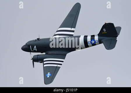 Douglas C-47A Skytrain Dakota of Aces High at the Abingdon Air & Country Show at the former RAF Abingdon. Space - Stock Photo
