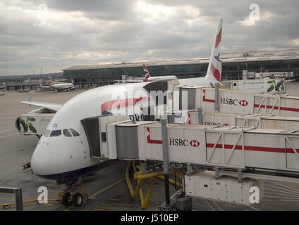 British Airways European Airbus A380 on a stand at Terminal 5 Heathrow Airport, London, UK - Stock Photo