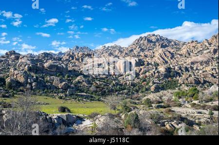 Granitic rock formations in La Pedriza, Guadarrama Mountains National Park, Madrid, Spain - Stock Photo
