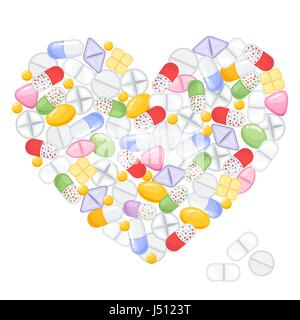 Different colorful medical pills capsules and tablets in heart. Medications collection. vector illustration in flat - Stock Photo