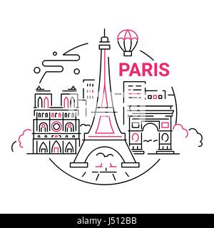 France - modern vector line travel illustration - Stock Photo