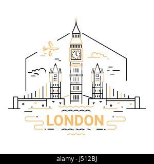 London - modern vector line travel illustration - Stock Photo
