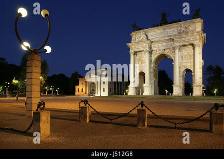 Arco Della Pace or the Arch of Peace, Piazza Sempione, Milan, Italy - Stock Photo