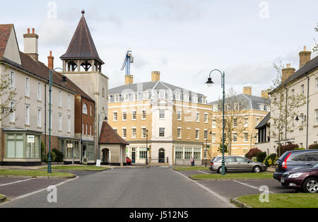 Houses and apartment buildings in Poundbury, the Price of Wales's planned new town on the edge of Dorchester in - Stock Photo