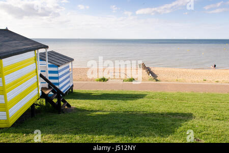 Whitstable, England - June 6, 2015: Looking out over Whitestable seafront and beach and the North Sea from beside - Stock Photo