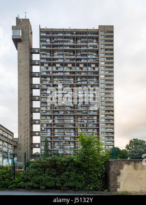 London, England - June 21, 2016: The brutalist Trellick Tower council estate block of flats in North Kensington. - Stock Photo