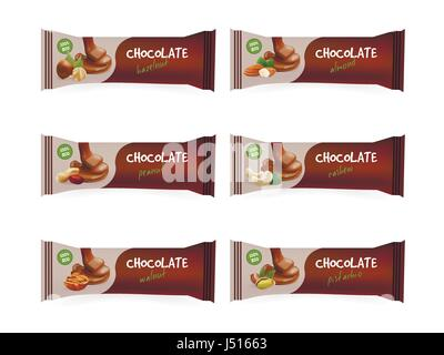 chocolate bars with nuts - Stock Photo