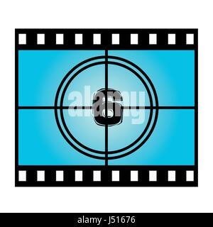 Film Screen Countdown Number Six. Vector Movie Illustration - Stock Photo