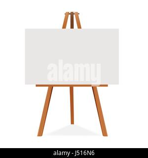 Wooden easel with canvas. Blank space ready for your advertising and presentation. Vector mock up illustration. - Stock Photo