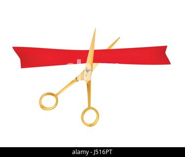 Golden scissors cut the red ribbon. The Symbol of the Grand Opening Event. Vector Object. Design Element. - Stock Photo