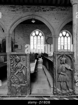 Examples of distinctive Tudor bench ends in St Nonna's Church, Altarnun, Cornwall, carved by Robart (sic) Daye between - Stock Photo