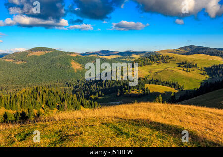 Classic Carpathian landscape. Autumn landscape in mountains of Romania. Conifer forest on hillsides of Apuseni National - Stock Photo