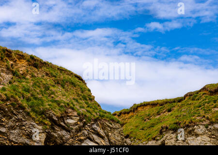 Abstract section of Cliff tops along the South West Coastal Path in Cornwall - Stock Photo