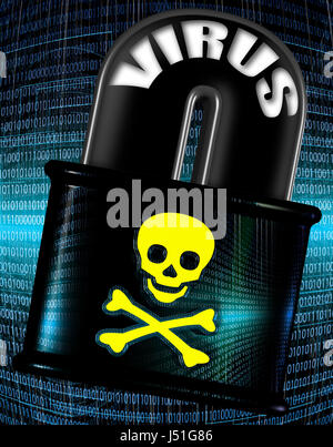 Internet security and malware concept illustration. A skull and bones symbol over a lock with binary code background - Stock Photo