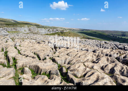 Limestone pavement at the top of Malham Cove, Malham, Malhamdale, Yorkshire Dales National Park, North Yorkshire, - Stock Photo
