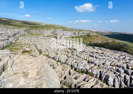 Limestone pavement at the top of Malham Cove, Malham, Malhamdale, Yorkshire Dales National Park, North Yorkshire, - Stock Photo