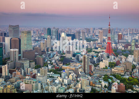 Cityscape image of Tokyo, Japan during sunset - Stock Photo