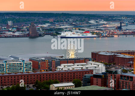 Aerial view of Liverpool skyline and albert dock. - Stock Photo