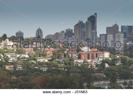View of the city of Sydney and surrounding suburbs from Dudley Page Reserve, Dover Heights, Sydney, New South Wales, - Stock Photo