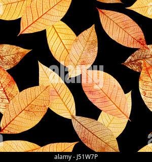 Seamless background pattern, golden skeleton leaves on black - Stock Photo