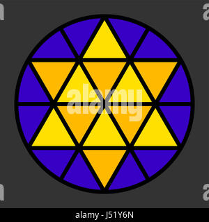 Hexagram leadlight impression, generated by a black triangle pattern in a circle with yellow and blue color. Rosette - Stock Photo