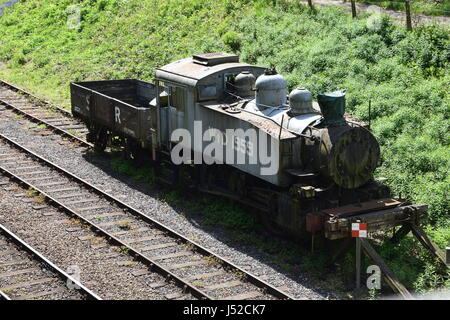WD 1959, USA 0-6-0T tank engine at Bluebell Railway with SR plank wagon - Stock Photo