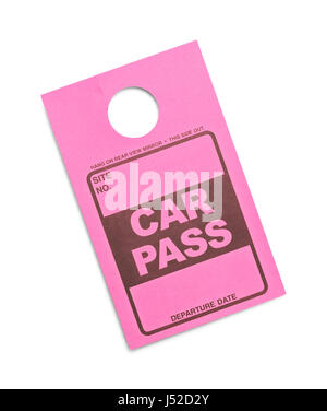 Pink Parking Permit Car Pass Isolated on White Background. - Stock Photo