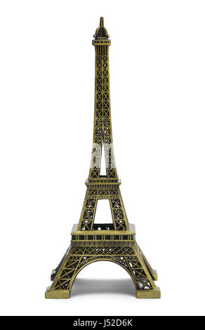 Small Scale Eiffel Tower Isolated on White Background. - Stock Photo