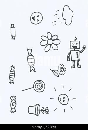 Series of scanned doodles in black ink on paper - Stock Photo