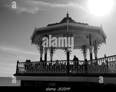 Bandstand on Brighton seafront, in black and white - Stock Photo