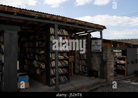 Shelves of Books, Castle Bookshop, Hay on Wye Wales UK - Stock Photo