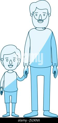 blue silhouette shading caricature full body man taken hand with little boy