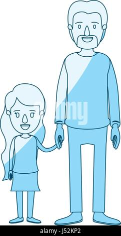 blue silhouette shading caricature full body man taken hand with girl