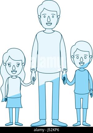 blue silhouette shading caricature full body man taken hand with girl and boy