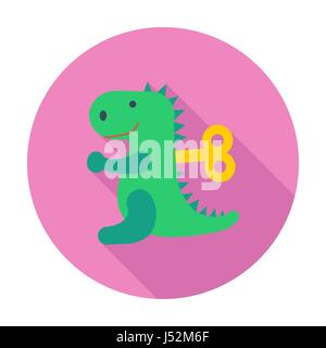 Dinosaurus toy icon. Flat vector related icon with long shadow for web and mobile applications. It can be used as - Stock Photo