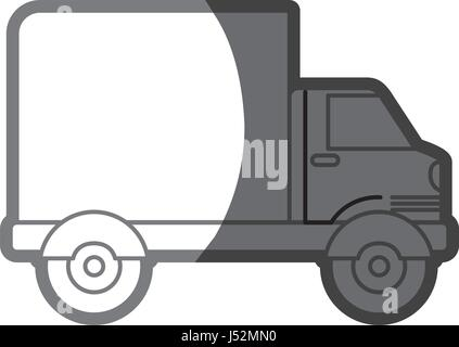grayscale silhouette of truck with wagon - Stock Photo
